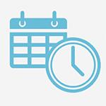 blue calendar and clock